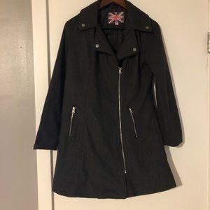 Gray zipper front peacoat